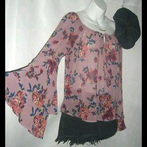 Lily White Pink Floral Bohemian Stevie Nicks Shirt